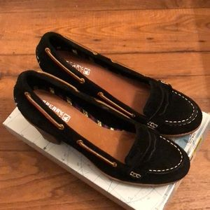 Sperry brushed leather penny loafer heels